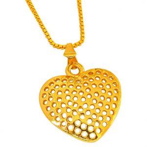 Triveni,Surat Diamonds Women's Clothing - Surat Diamond Heart Shaped Jali Style Gold Plated Pendant with 22 IN Chain for Your Love SDS251