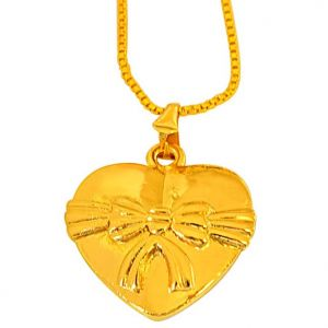 "Surat Diamond Lovely Bow"" Design On Gold Plated Heart Pendant With 22 In Chain For Your Love Sds252"