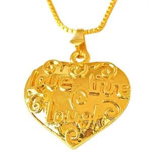 "triveni,my pac,clovia,jharjhar,surat diamonds,Oviya Pendants (Imitation) - Surat Diamond Love, Live, Laugh"" Heart Shaped Gold Plated Pendant with 22 IN Chain for Your Love SDS253"