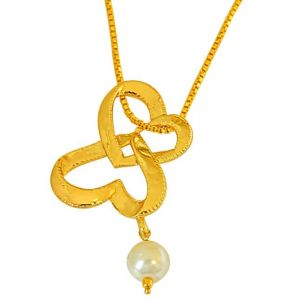 "Surat Diamond You & Me Together"" Heart Shaped Gold Plated Pendant With 22 In Chain & White Shell Pearl Sds254"