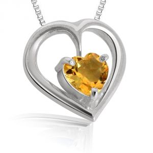 Surat Diamonds,The Jewelbox,Gili,Hoop Gemstones - Surat Diamond Heart Shaped Topaz Pendant with Silver finished Chain SDS47