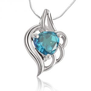jagdamba,surat diamonds,valentine,jharjhar,asmi,tng Gemstone Pendants - Surat Diamond Fine Blue Topaz Heart shape Pendant with Silver finished Chain SDS68