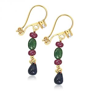 Surat Diamond Drop Sapphire, Oval Emerald & Ruby Beads Earrings. Se128