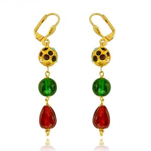 Surat Diamond Multicolour Kundan Beads & Red And Green Colour Stone Hanging Earrings Se135