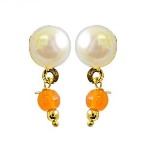 Surat Diamond Button Pearl Studs With Dangling Orange Stone Earrings Se156