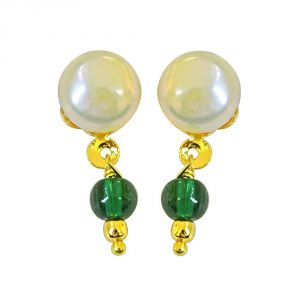 Rcpc,Jpearls,Surat Diamonds Women's Clothing - Surat Diamond Button Pearl Studs with Dangling Green stone Earrings- SE157-2