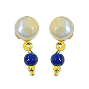 Surat Diamond Button Pearl Studs With Dangling Blue Stone Se158