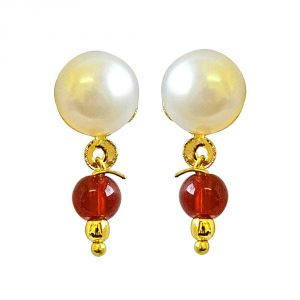 rcpc,ivy,soie,surat diamonds Earrings (Imititation) - Surat Diamond Button Pearl Studs with Dangling Red stone Earrings SE159
