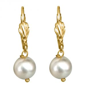Triveni,Jagdamba,Ag,Estoss,Bikaw,Flora,Surat Diamonds,Fasense Women's Clothing - Surat Diamond White Shell Pearl & Flower Shaped Wire Earring- SE172-3