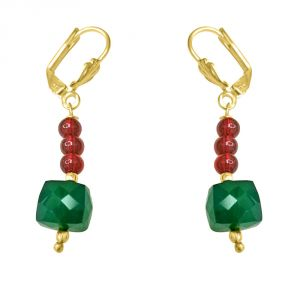 Surat Diamond Traditional Real Green Onyx & Red Coloured Stone Earrings. Se177