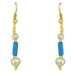 Surat Diamond Turquoise Pipe & Shell Pearl Hanging Earrings Se188
