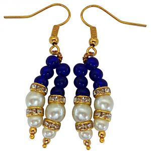 Kiara,La Intimo,Shonaya,Lime,Flora,Surat Diamonds,Diya,Sangini,Parineeta Women's Clothing - Surat Diamond Blue Stone & Shell Pearl Hanging Earrings for Women SE225
