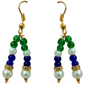 Triveni,Pick Pocket,Jpearls,Surat Diamonds,Arpera Women's Clothing - Surat Diamond Blue & Green Coloured Stone & White Shell Pearl Hanging Earring for Women SE226