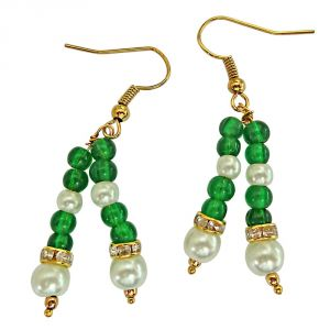 Surat Diamond 2 Line Green Coloured Stone & Shell Pearl Hanging Earrings For Women Se227