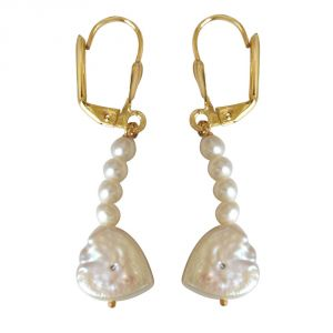 Surat Diamond Beautiful Heart Shaped Pearl & Gold Plated Dangling Earrings Se235