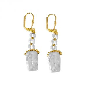 Surat Diamond Rectangle & Round Shaped Pearl & Gold Plated Beads Hanging Earrings Se236