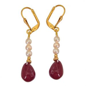 Triveni,Pick Pocket,Jpearls,Surat Diamonds,Arpera,Estoss,Oviya Pearl Earrings - Surat Diamond Real Red Ruby Drop & Real Freshwater Pearl Hanging Earrings SE237