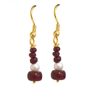 triveni,pick pocket,jpearls,surat diamonds,arpera,platinum Gemstone Earrings - Surat Diamond Real Dark Red Ruby Beads & Freshwater Pearl Gold Plated Hanging Earrings SE238