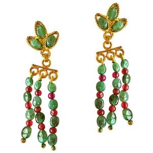 971aa0823 Surat Diamond Oval Emerald   Round Ruby Beads Gold Plated Hanging Earrings  SE252