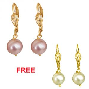 Triveni,Platinum,Jagdamba,Pick Pocket,Surat Diamonds,La Intimo,See More,Bikaw Women's Clothing - Surat Diamond Pink Shell Pearl & Flower Shaped Wire Earrings- SE257FreeSE169