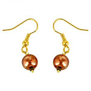 Surat Diamonds Round Shape Brown Coloured Imitation Shell Pearl & Gold Plated Earring