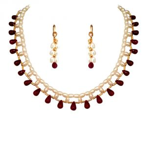 triveni,my pac,jharjhar,surat diamonds,avsar Gemstone Necklaces - Surat Diamond Marvelous Single Line Rice Pearl And Ruby Necklace SN352SE126_2