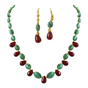 Surat Diamond Real Oval Green Emerald & Drop Red Ruby & Gold Plated Beads Necklace With Dangling Earrings Sn675