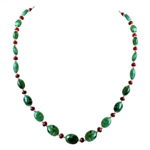 Surat Diamonds Women's Clothing - Surat Diamond Real Oval Green Emerald, Ruby Beads & Silver Plated Beads Necklace for Women SN676