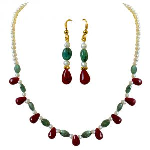 Surat Diamond Real Drop Ruby, Oval Emerald & Freshwater Pearl Necklace Earring Set Sn678