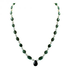 Surat Diamond Real Drop Blue Sapphire, Oval Green Emerald, Freshwater Pearls & Silver Plated Beads Necklace Sn679