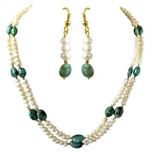 Surat Diamond Real Oval Green Emerald & Freshwater Pearl 2 Line Necklace & Hanging Earring Set Sn682