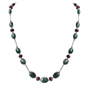 Surat Diamond Single Line Real Natural Oval Emerald & Khabucha Ruby Beads & Silver Plated Pipe & Beads Necklace Sn684