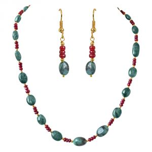 Surat Diamond Single Line Real Oval Green Emeralds & Red Ruby Beads Necklace & Earring Set Sn685