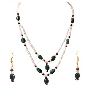 Surat Diamond Real Oval Emerald, Ruby Beads & Freshwater Pearl Necklace & Earring Set Sn686
