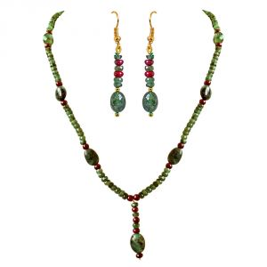 Gemstone Jewellery Sets - Surat Diamond Real Oval Green Emerald, Beads & Ruby Beads Trendy Necklace & Earring Set SN687