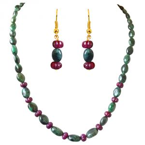 Surat Diamond Single Line Real Oval Green Emerald & Flower Shaped Red Ruby Beads Necklace Earring Set Sn688