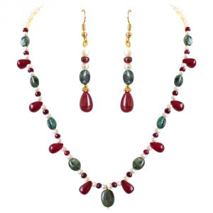 Pearl Jewellery Sets - Surat Diamond Real Oval Green Emerald, Red Drop Ruby & Beads & Freshwater Pearl Necklace Earring Set SN689