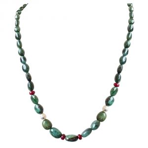surat diamonds,valentine,Jpearls Fashion, Imitation Jewellery - Surat Diamond Single Line Real Oval Green Emerald, Red Ruby Beads & Silver Plated Ball Necklace SN690
