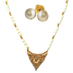 Surat Diamonds Women's Clothing - Surat Diamond Traditionally Designed Gold Plated Pendant, Beads & Real Rice Pearl Necklace with Pearl Studs SN704