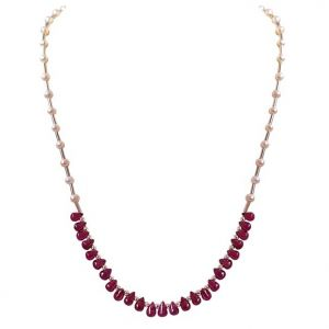 Surat Diamond Single Line Real Drop Ruby, Freshwater Pearl & Silver Plated Pipe Necklace Sn714