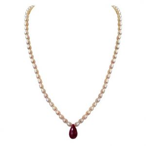 triveni,platinum,jagdamba,pick pocket,surat diamonds,jharjhar Pearl Necklaces - Surat Diamond Single Line Faceted  Big 13ct Solitaire Drop Ruby & Rice Pearl Necklace SN715