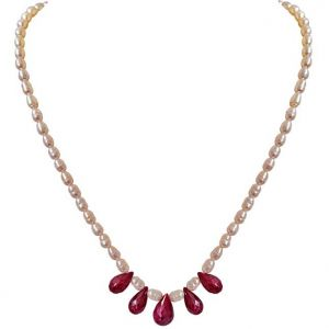 triveni,platinum,jagdamba,pick pocket,surat diamonds,kaamastra Pearl Necklaces - Surat Diamond 5 Faceted Drop Real Red Ruby & Rice Pearl Necklace SN716