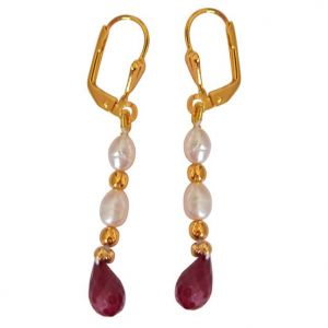 triveni,pick pocket,jpearls,surat diamonds Pearl Earrings - Surat Diamond Faceted Drop Ruby, Rice Pearl & Gold Plated Beads Earrings SN717ER