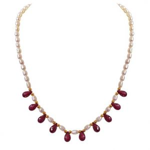 kiara,shonaya,jharjhar,kalazone,surat diamonds Pearl Necklaces - Surat Diamond Faceted Drop Ruby, Rice Pearl & Gold Plated Beads Necklace SN717N
