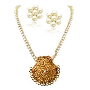 The Jewelbox,Jpearls,Port,Kalazone,Parineeta,Surat Diamonds Pearl Jewellery - Surat Diamond My Sunshine Gold Plated Pendant & Single Line Real Pearl Necklace SN719