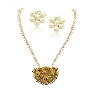 "triveni,platinum,jagdamba,flora,bagforever,surat diamonds Pearl Necklaces - Surat Diamond Gateway of Women""s Heart Gold Plated Pendant & Single Line Real Pearl Necklace SN721"