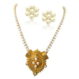 kiara,shonaya,jharjhar,kalazone,surat diamonds Pearl Necklaces - Surat Diamond Princess Neck Pride Gold Plated Pendant & Single Line Real Pearl Necklace SN722