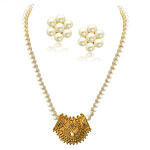 Surat Diamond Mohini Gold Plated Pendant & Single Line Real Pearl Necklace Sn723