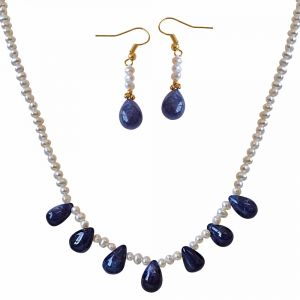 vipul,oviya,soie,surat diamonds Pearl Necklaces - Surat Diamond 42cts Real Drop Blue Sapphire and Freshwater Pearl Necklace and Earring Set SN742