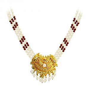Surat Diamond Pearl Necklace With Pendant Snp-4a